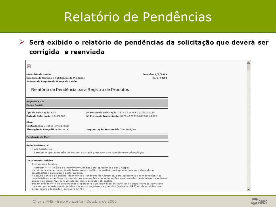 Oficina ANS - Belo Horizonte - Outubro de 2006 Relatório de Pendências  A operadora poderá emitir o relatório de pendências, selecionando os tipos de pendência.