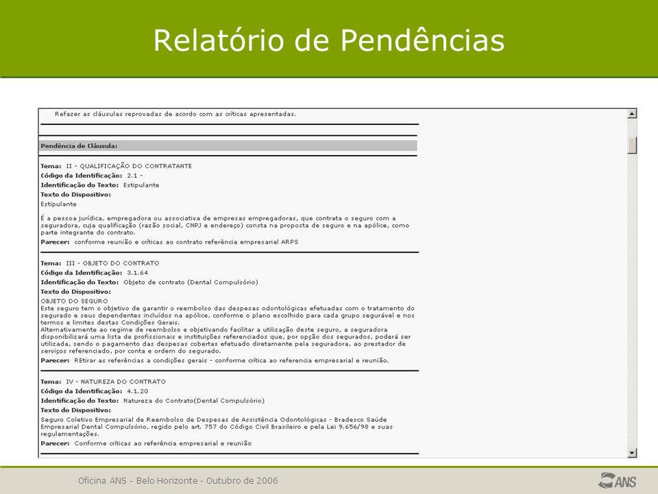 Oficina ANS - Belo Horizonte - Outubro de 2006 Relatório de Pendências  Será exibido o relatório de pendências da solicitação que deverá ser corrigida e reenviada