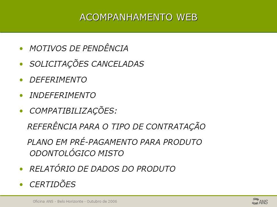 Oficina ANS - Belo Horizonte - Outubro de 2006 Relatório de dados da solicitação  Será exibido o relatório dos dados da solicitação.
