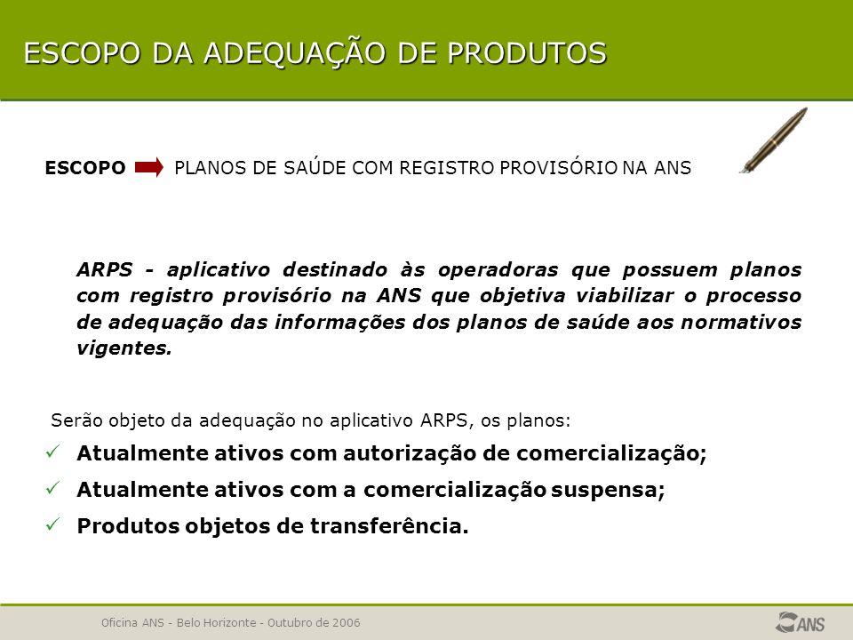 Oficina ANS - Belo Horizonte - Outubro de 2006 SOLICITAÇÃO DE ADEQUAÇÃO DE REGISTRO DE PRODUTO Escopo da adequação Adequação eletrônica (ARPS) Consistências e validações do ARPS IMPORTANTE – implicações da não adequação