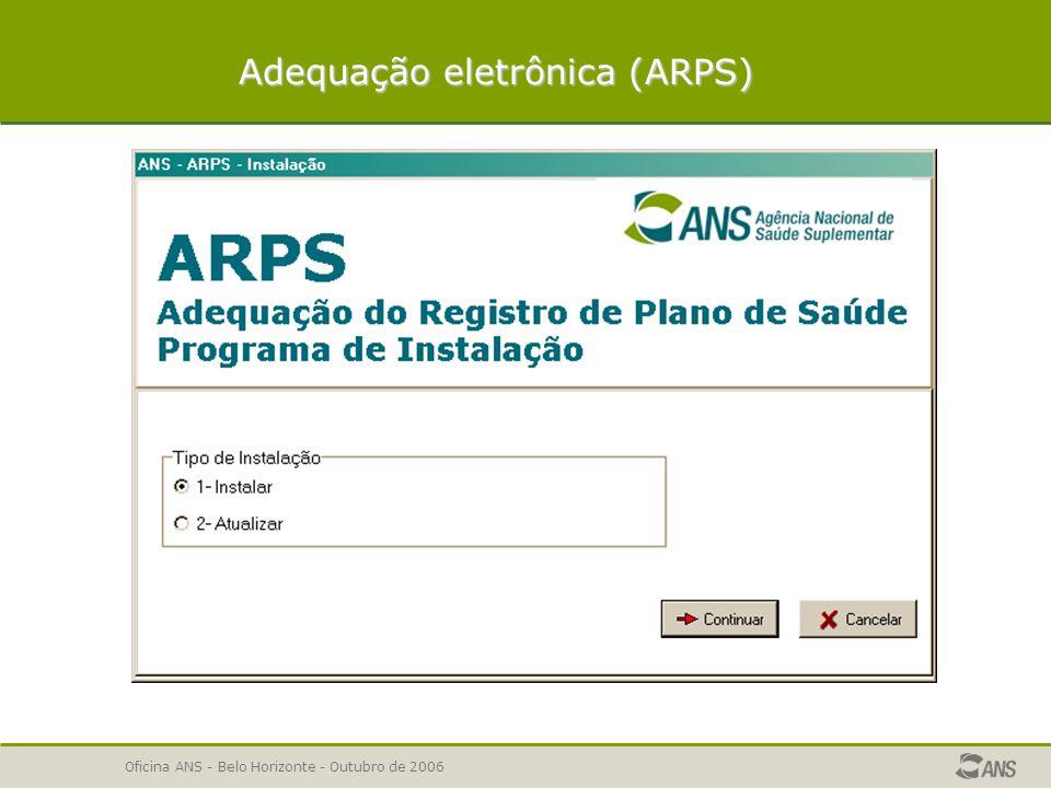 Oficina ANS - Belo Horizonte - Outubro de 2006 SOLICITAÇÃO DE ADEQUAÇÃO DE REGISTRO DE PRODUTO Escopo da adequação Adequação eletrônica (ARPS) Adequação eletrônica (ARPS) Consistências e validações do ARPS IMPORTANTE – implicações da não adequação