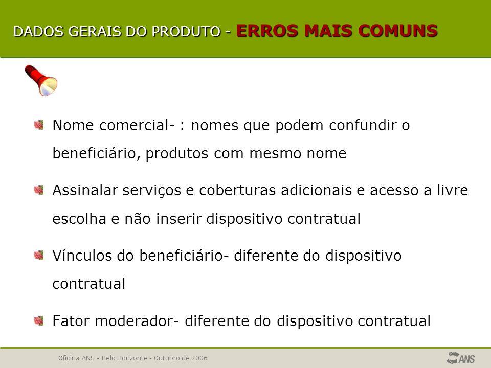 Oficina ANS - Belo Horizonte - Outubro de 2006 DADOS GERAIS DO PRODUTO Segmentação Tipo de contratação Área de abrangência Tipo de acomodação Fator moderador Formação de preço Condições de vínculo do beneficiário (planos coletivos) Participação financeira da pessoa jurídica contratante Acesso a livre escolha de prestadores Serviços e coberturas adicionais