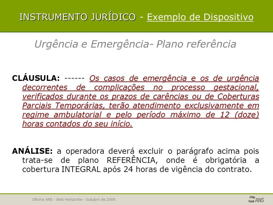Oficina ANS - Belo Horizonte - Outubro de 2006 INSTRUMENTO JURÍDICO Análise em duas etapas Primeira etapa denominada Instrumento Jurídico, a análise é apresentada considerando as características particulares do produto.
