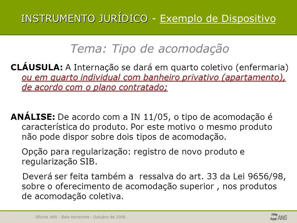 Oficina ANS - Belo Horizonte - Outubro de 2006 Desvincular o dispositivo Cadastrar novo texto, com nova identificação e código Vincular novo dispositivo ao produto Após aprovação, o novo dispositivo poderá ser vinculado aos outros produtos da segmentação referência INSTRUMENTO JURÍDICO- CORREÇÃO DISPOSITIVO INSTRUMENTO JURÍDICO - CORREÇÃO DISPOSITIVO