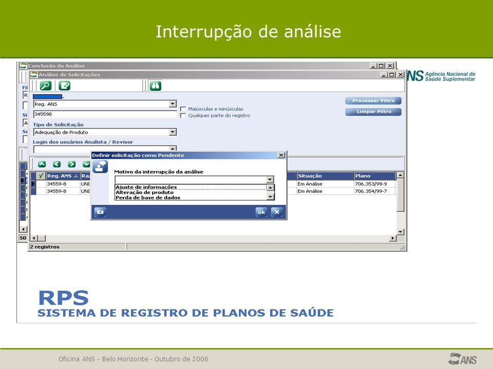 Oficina ANS - Belo Horizonte - Outubro de 2006 PENDENTE CONCLUSÃO DA ANÁLISE - PENDENTE