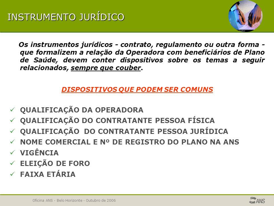 Oficina ANS - Belo Horizonte - Outubro de 2006 CLÁUSULAS CONTRATUAIS DO INSTRUMENTO JURÍDICO ERRO - Dispositivo contratual já cadastrado anteriormente com texto diferente.