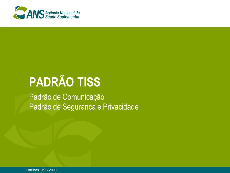 Oficinas TISS 2006 PADRÃO TISS Padrão de Comunicação Padrão de Segurança e Privacidade