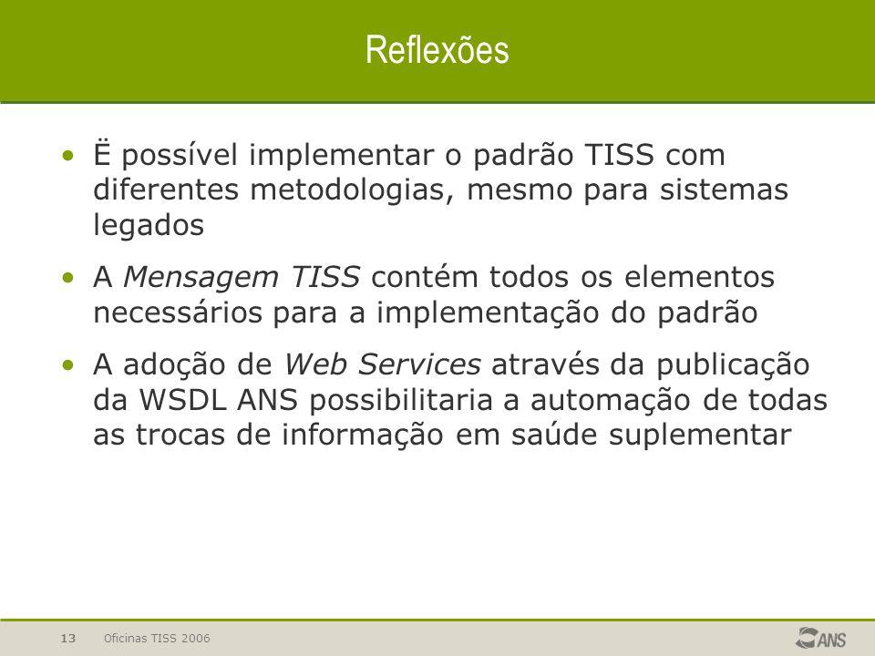 Oficinas TISS 200613 Reflexões Ë possível implementar o padrão TISS com diferentes metodologias, mesmo para sistemas legados A Mensagem TISS contém to