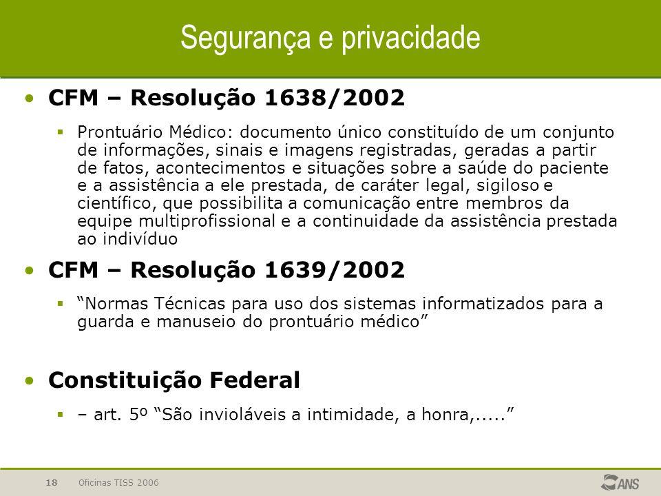 Oficinas TISS 200618 CFM – Resolução 1638/2002  Prontuário Médico: documento único constituído de um conjunto de informações, sinais e imagens regist