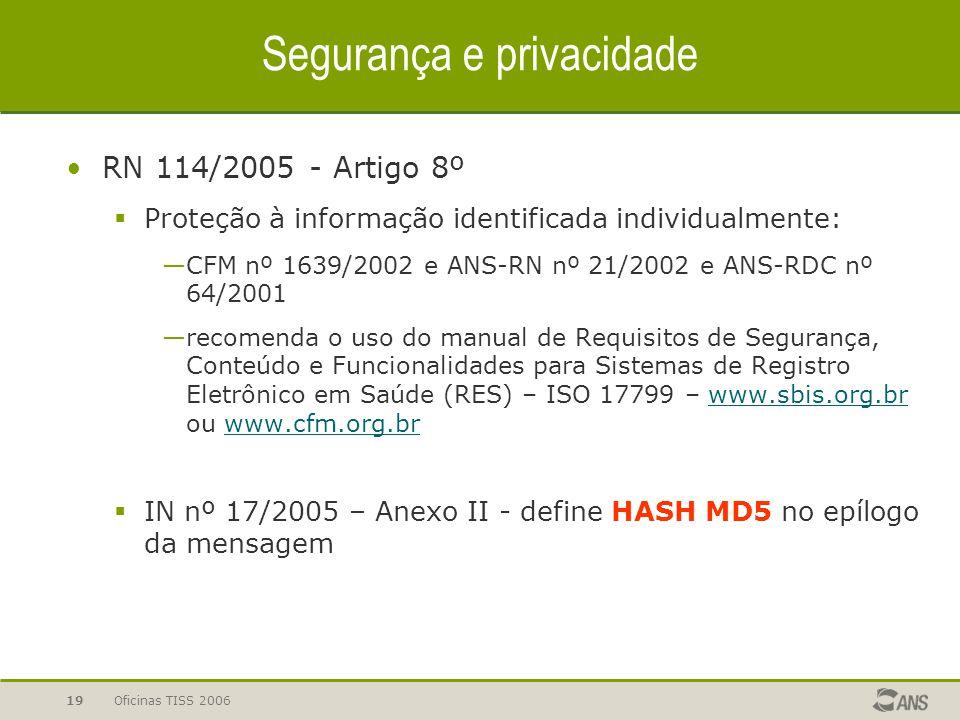 Oficinas TISS 200619 Segurança e privacidade RN 114/2005 - Artigo 8º  Proteção à informação identificada individualmente: —CFM nº 1639/2002 e ANS-RN