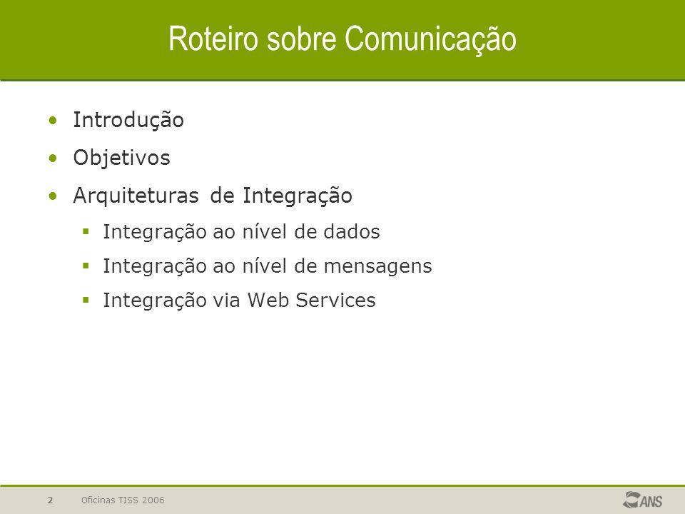 Oficinas TISS 20062 Roteiro sobre Comunicação Introdução Objetivos Arquiteturas de Integração  Integração ao nível de dados  Integração ao nível de