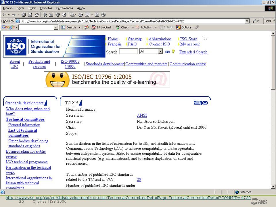 Oficinas TISS 200625 http://www.iso.org/iso/en/stdsdevelopment/tc/tclist/TechnicalCommitteeDetailPage.TechnicalCommitteeDetail?COMMID=4720