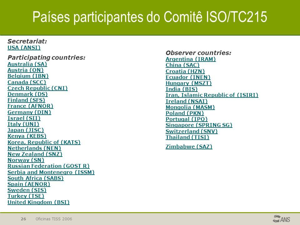 Oficinas TISS 200626 Secretariat: USA (ANSI) USA (ANSI) Participating countries: Australia (SA) Austria (ON) Belgium (IBN) Canada (SCC) Czech Republic