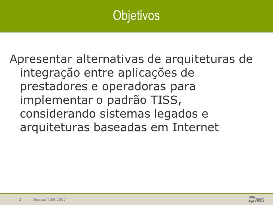 Oficinas TISS 20063 Objetivos Apresentar alternativas de arquiteturas de integração entre aplicações de prestadores e operadoras para implementar o pa