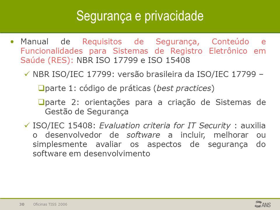 Oficinas TISS 200630 Segurança e privacidade Manual de Requisitos de Segurança, Conteúdo e Funcionalidades para Sistemas de Registro Eletrônico em Saú