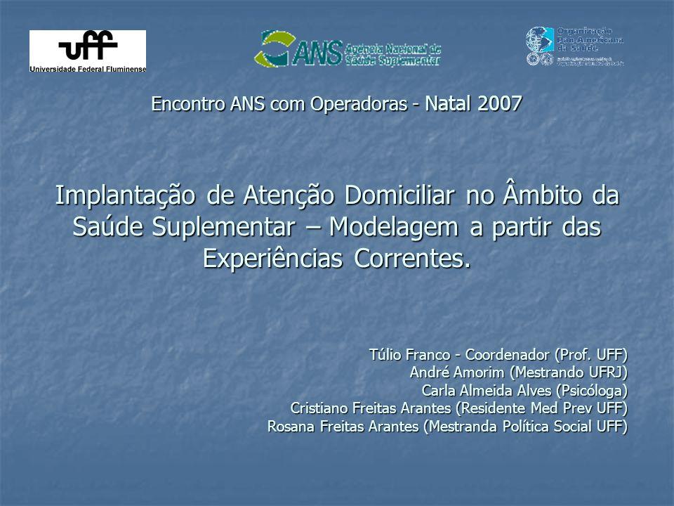 Encontro ANS com Operadoras - Natal 2007 Implantação de Atenção Domiciliar no Âmbito da Saúde Suplementar – Modelagem a partir das Experiências Correntes.