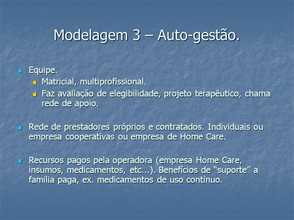 Modelagem 3 – Auto-gestão. Equipe. Equipe. Matricial, multiprofissional.