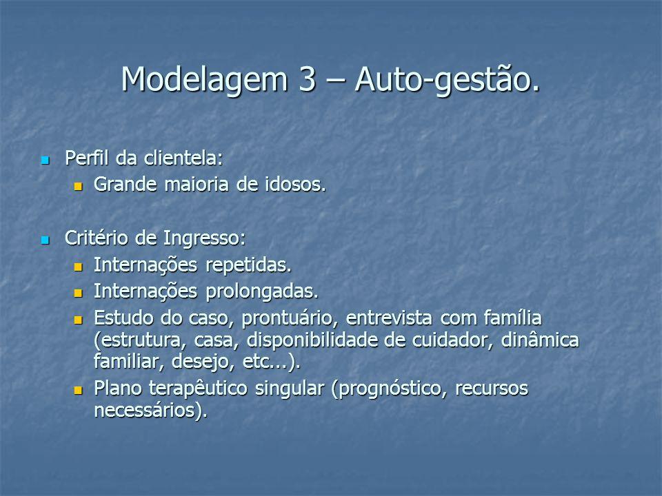 Modelagem 3 – Auto-gestão. Perfil da clientela: Perfil da clientela: Grande maioria de idosos.