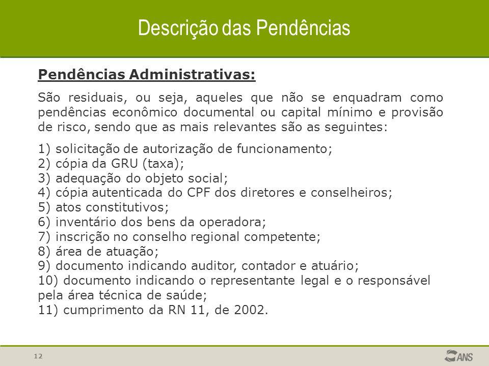 12 Descrição das Pendências Pendências Administrativas: São residuais, ou seja, aqueles que não se enquadram como pendências econômico documental ou c