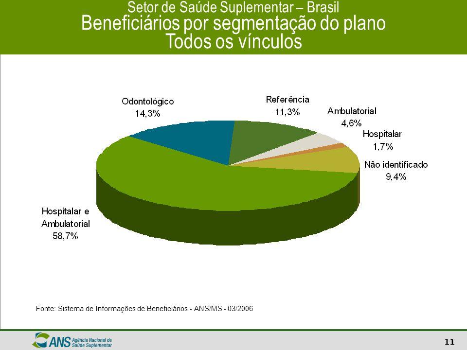 12 Setor de Saúde Suplementar - Brasil Operadoras de planos de saúde Fonte: Cadastro de Operadoras – ANS/MS – 03/2006