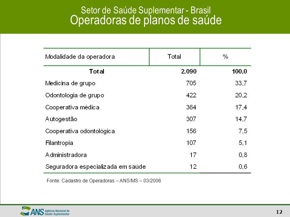 13 Setor de Saúde Suplementar - Brasil Operadoras de planos de saúde Fonte: Cadastro de Operadoras – ANS/MS – 03/2006
