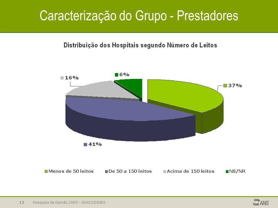 Pesquisa de Opinão 2005 - GGACI/DIGES13 Caracterização do Grupo - Prestadores