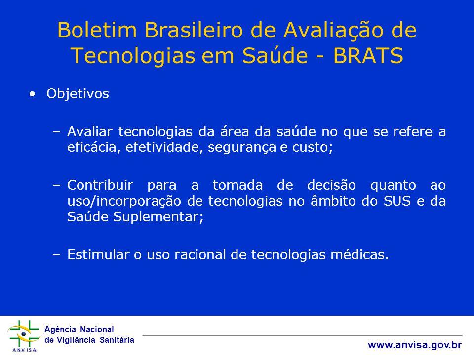Agência Nacional de Vigilância Sanitária www.anvisa.gov.br Boletim Brasileiro de Avaliação de Tecnologias em Saúde - BRATS Objetivos –Avaliar tecnolog