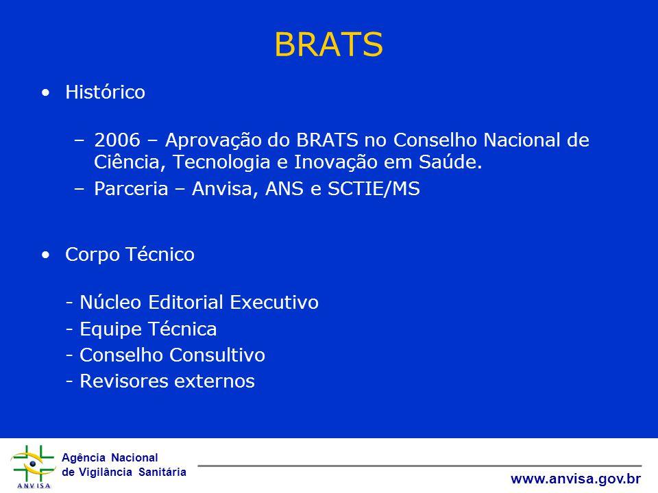 Agência Nacional de Vigilância Sanitária www.anvisa.gov.br BRATS Histórico –2006 – Aprovação do BRATS no Conselho Nacional de Ciência, Tecnologia e In