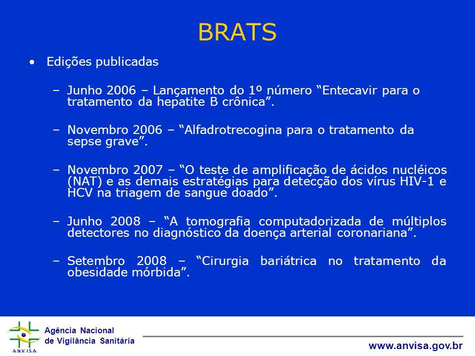"""Agência Nacional de Vigilância Sanitária www.anvisa.gov.br BRATS Edições publicadas –Junho 2006 – Lançamento do 1º número """"Entecavir para o tratamento"""