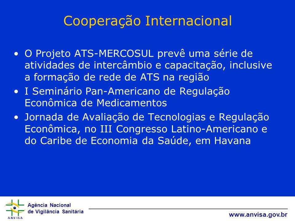 Agência Nacional de Vigilância Sanitária www.anvisa.gov.br Cooperação Internacional O Projeto ATS-MERCOSUL prevê uma série de atividades de intercâmbi