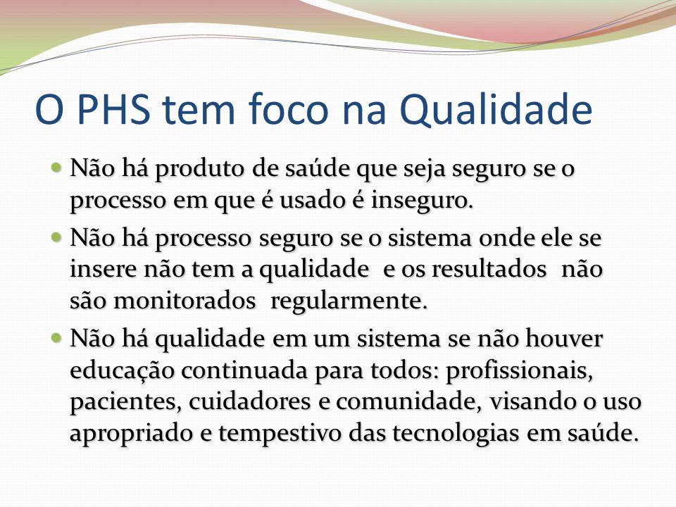 O PHS tem foco na Qualidade Não há produto de saúde que seja seguro se o processo em que é usado é inseguro.