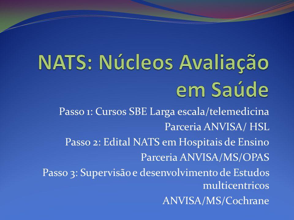 Passo 1: Cursos SBE Larga escala/telemedicina Parceria ANVISA/ HSL Passo 2: Edital NATS em Hospitais de Ensino Parceria ANVISA/MS/OPAS Passo 3: Supervisão e desenvolvimento de Estudos multicentricos ANVISA/MS/Cochrane