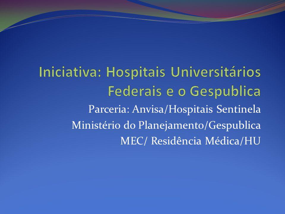 Parceria: Anvisa/Hospitais Sentinela Ministério do Planejamento/Gespublica MEC/ Residência Médica/HU
