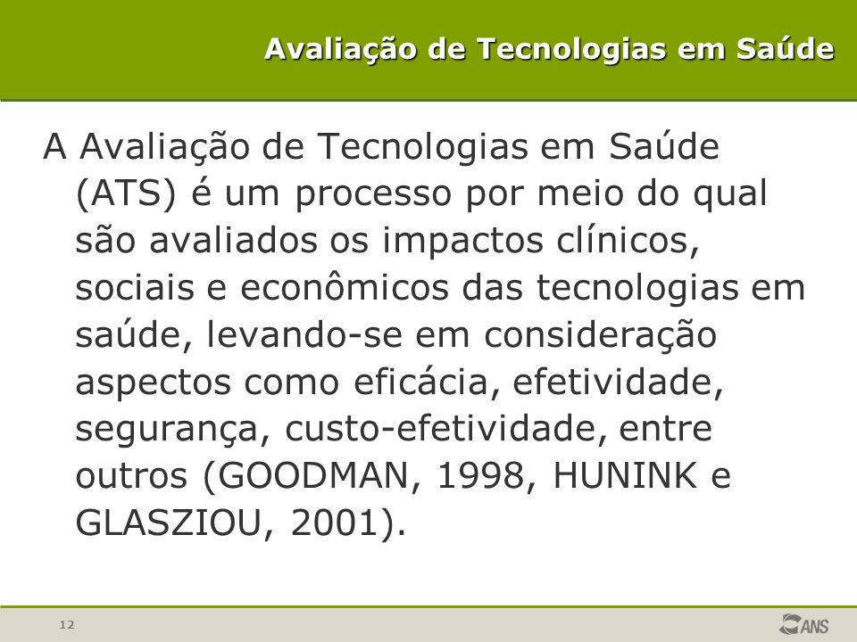 12 Avaliação de Tecnologias em Saúde A Avaliação de Tecnologias em Saúde (ATS) é um processo por meio do qual são avaliados os impactos clínicos, soci