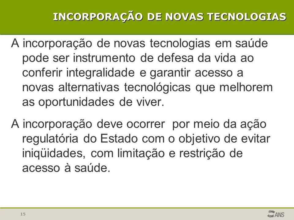 15 INCORPORAÇÃO DE NOVAS TECNOLOGIAS A incorporação de novas tecnologias em saúde pode ser instrumento de defesa da vida ao conferir integralidade e g