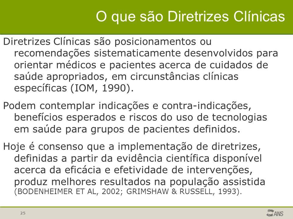 25 O que são Diretrizes Clínicas Diretrizes Clínicas são posicionamentos ou recomendações sistematicamente desenvolvidos para orientar médicos e pacie