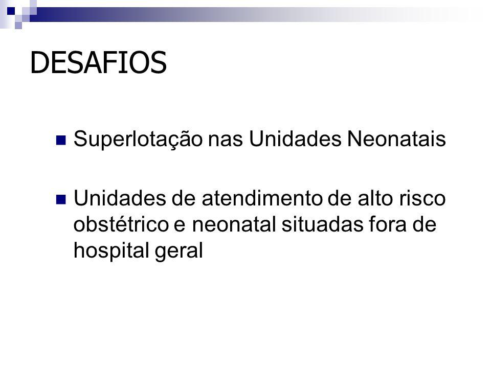 DESAFIOS Superlotação nas Unidades Neonatais Unidades de atendimento de alto risco obstétrico e neonatal situadas fora de hospital geral
