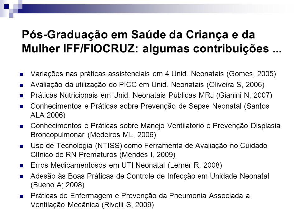 Pós-Graduação em Saúde da Criança e da Mulher IFF/FIOCRUZ: algumas contribuições...
