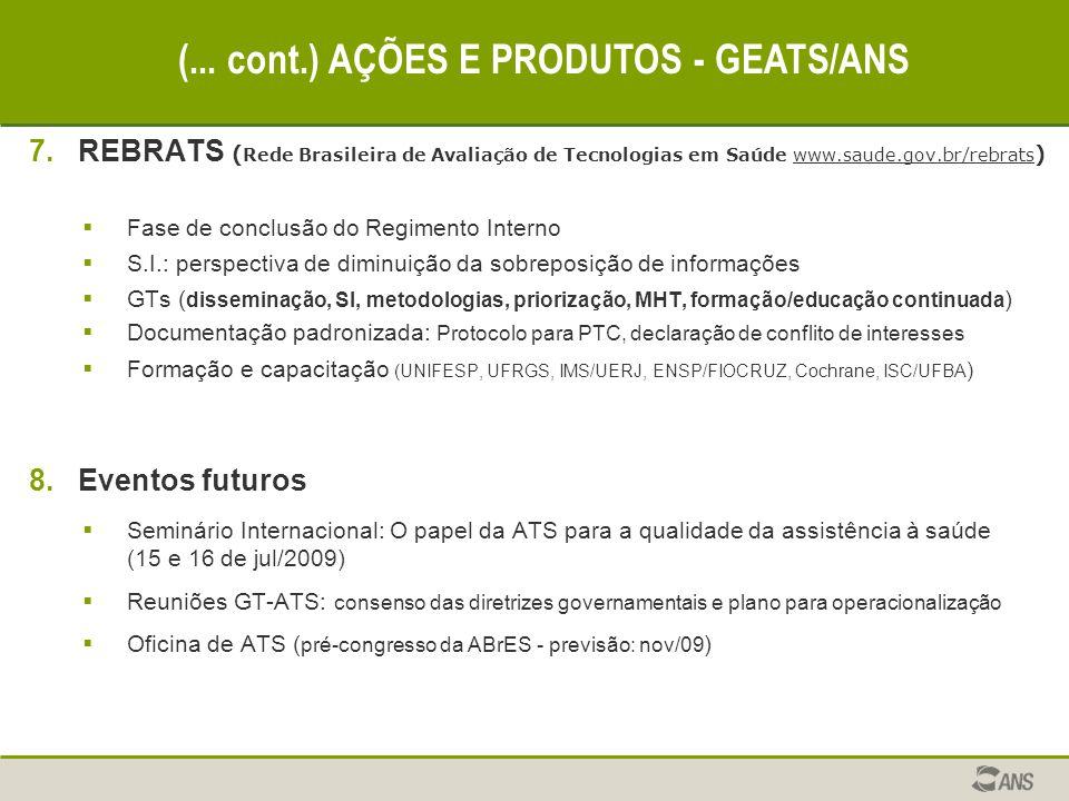 7.REBRATS ( Rede Brasileira de Avaliação de Tecnologias em Saúde www.saude.gov.br/rebrats )  Fase de conclusão do Regimento Interno  S.I.: perspecti