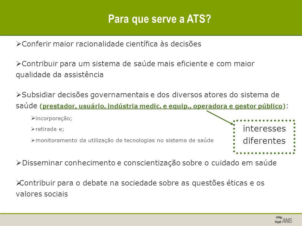 Para que serve a ATS?  Conferir maior racionalidade científica às decisões  Contribuir para um sistema de saúde mais eficiente e com maior qualidade