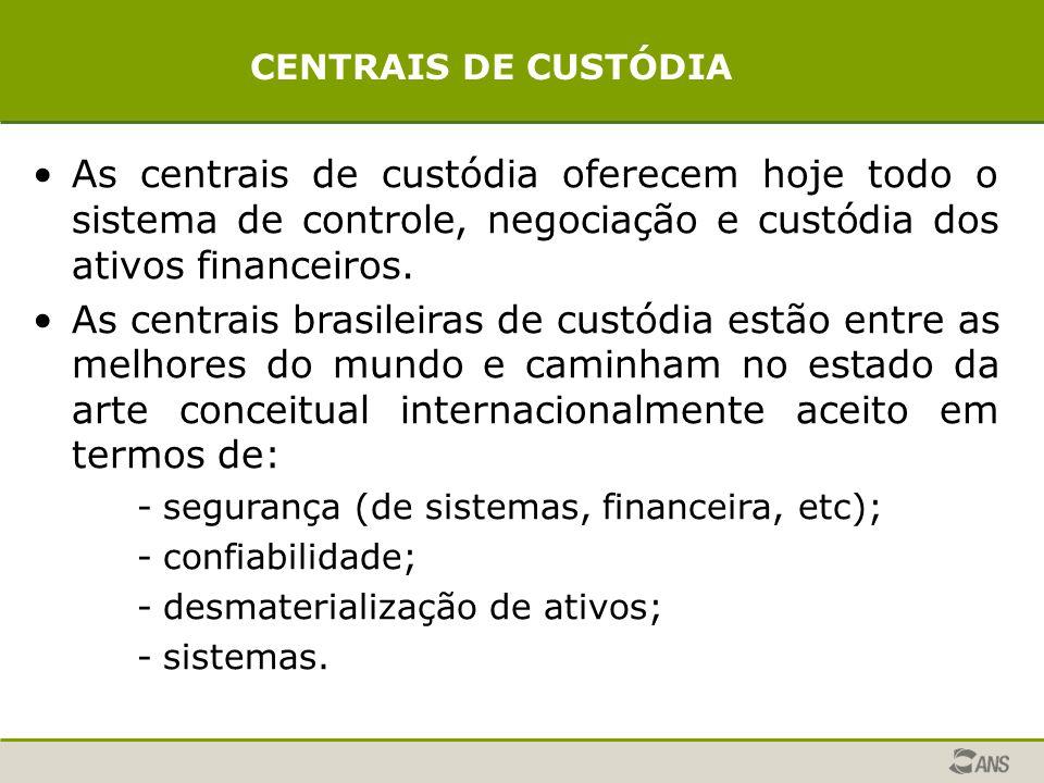 As centrais de custódia oferecem hoje todo o sistema de controle, negociação e custódia dos ativos financeiros.