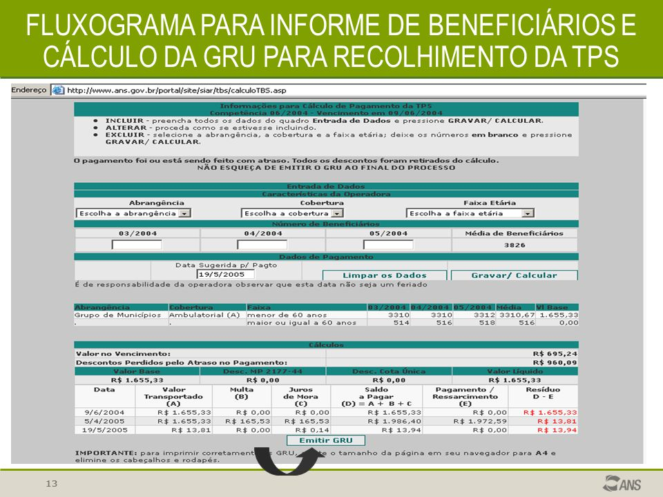 13 FLUXOGRAMA PARA INFORME DE BENEFICIÁRIOS E CÁLCULO DA GRU PARA RECOLHIMENTO DA TPS