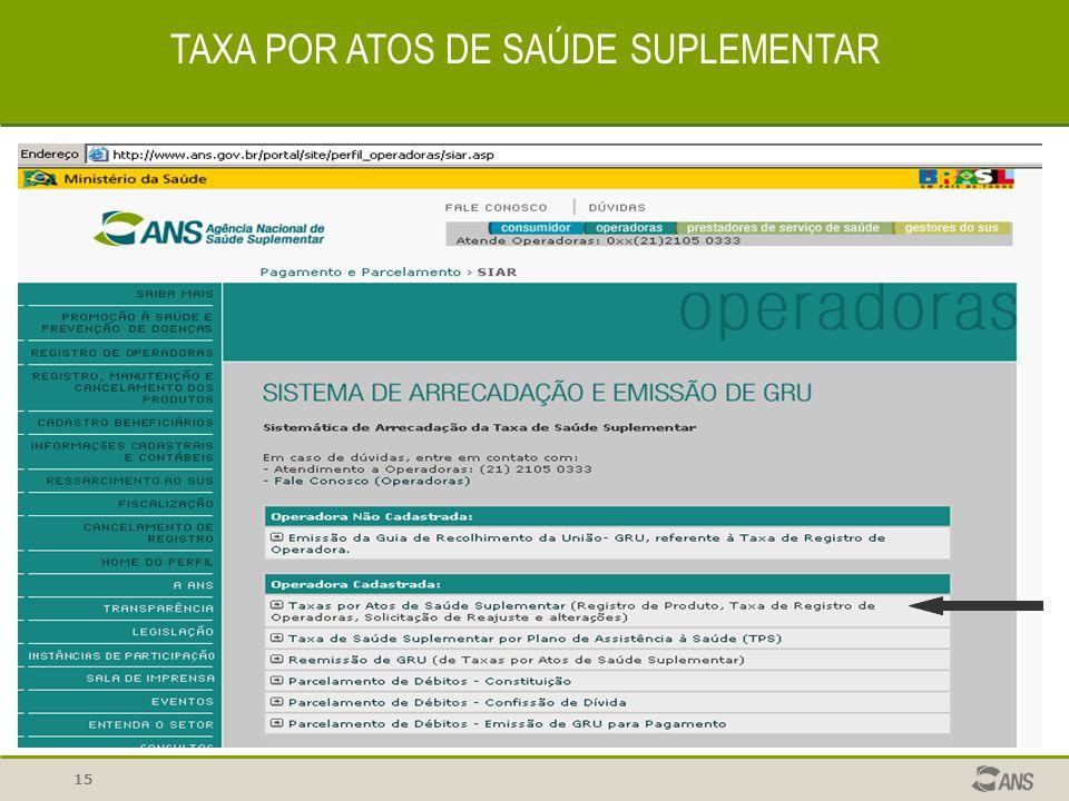 15 TAXA POR ATOS DE SAÚDE SUPLEMENTAR