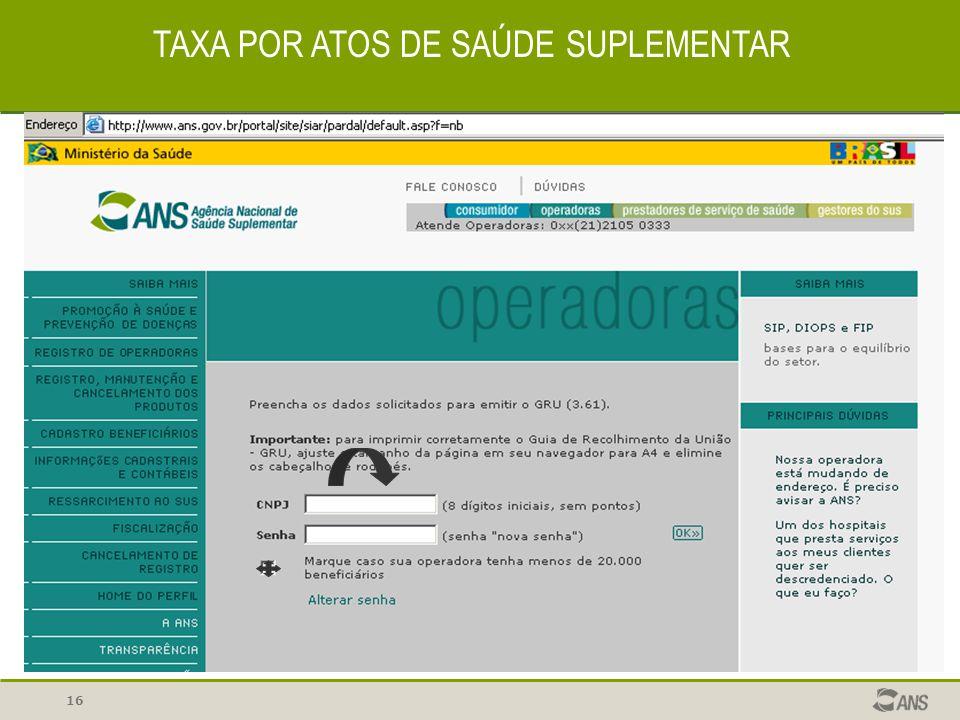 16 TAXA POR ATOS DE SAÚDE SUPLEMENTAR