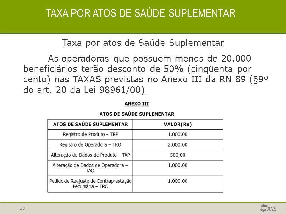 18 TAXA POR ATOS DE SAÚDE SUPLEMENTAR Taxa por atos de Saúde Suplementar As operadoras que possuem menos de 20.000 beneficiários terão desconto de 50%