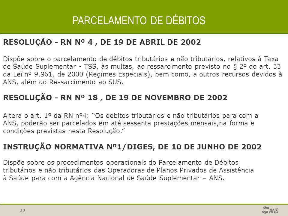 20 PARCELAMENTO DE DÉBITOS RESOLUÇÃO - RN Nº 4, DE 19 DE ABRIL DE 2002 Dispõe sobre o parcelamento de débitos tributários e não tributários, relativos