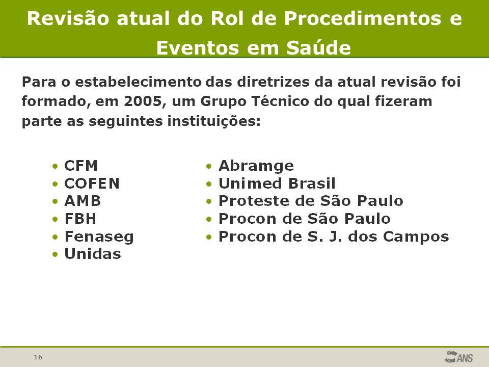 16 Para o estabelecimento das diretrizes da atual revisão foi formado, em 2005, um Grupo Técnico do qual fizeram parte as seguintes instituições: Revi