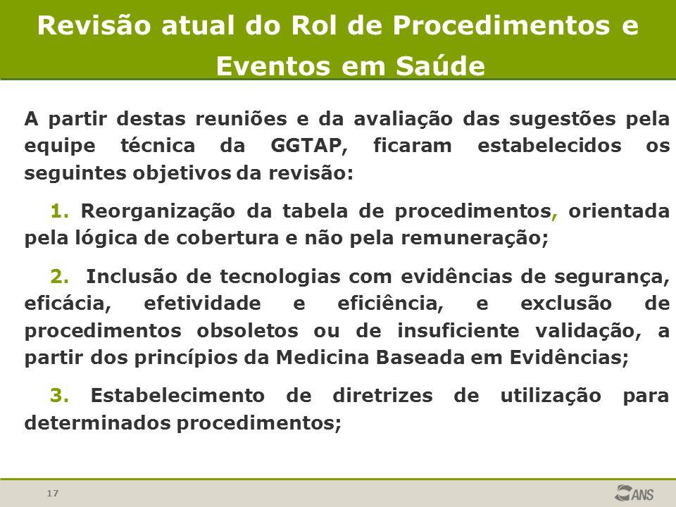 17 A partir destas reuniões e da avaliação das sugestões pela equipe técnica da GGTAP, ficaram estabelecidos os seguintes objetivos da revisão: 1. Reo