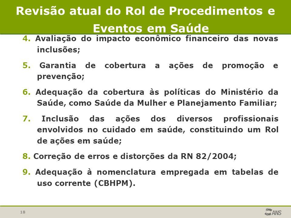 18 4. Avaliação do impacto econômico financeiro das novas inclusões; 5. Garantia de cobertura a ações de promoção e prevenção; 6. Adequação da cobertu