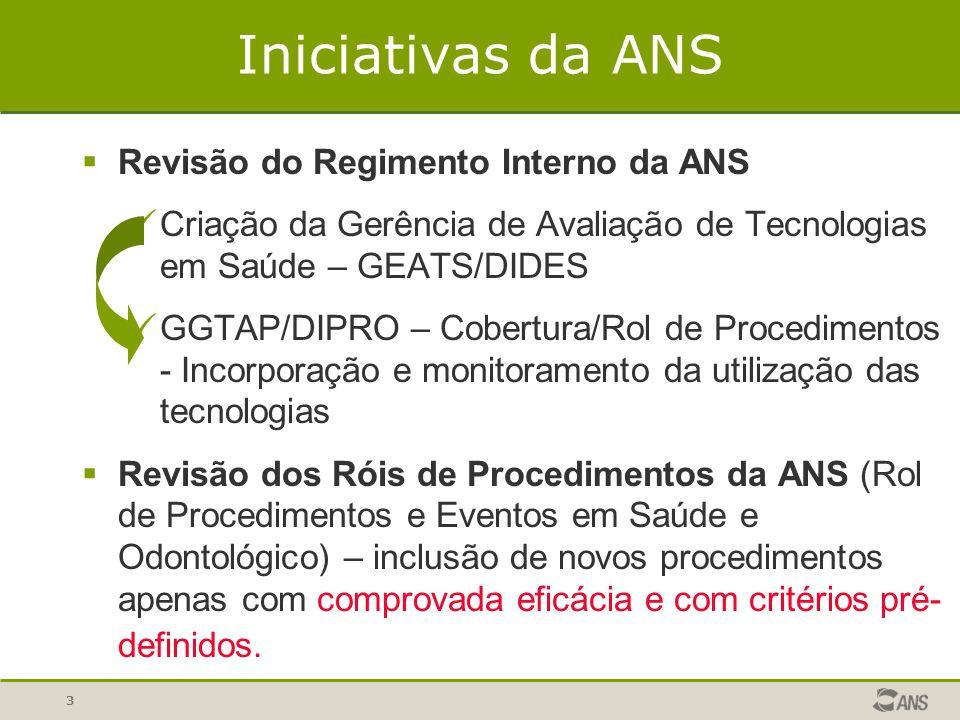 3 Iniciativas da ANS  Revisão do Regimento Interno da ANS Criação da Gerência de Avaliação de Tecnologias em Saúde – GEATS/DIDES GGTAP/DIPRO – Cobert